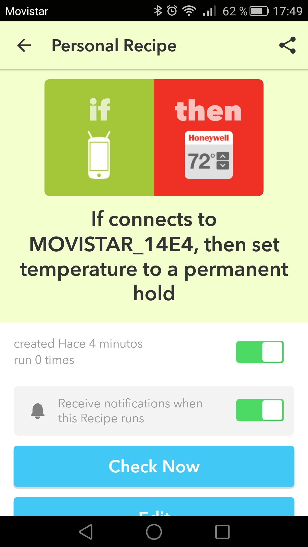 IFTTT notification