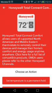 DO app honeywell seleccionar acción